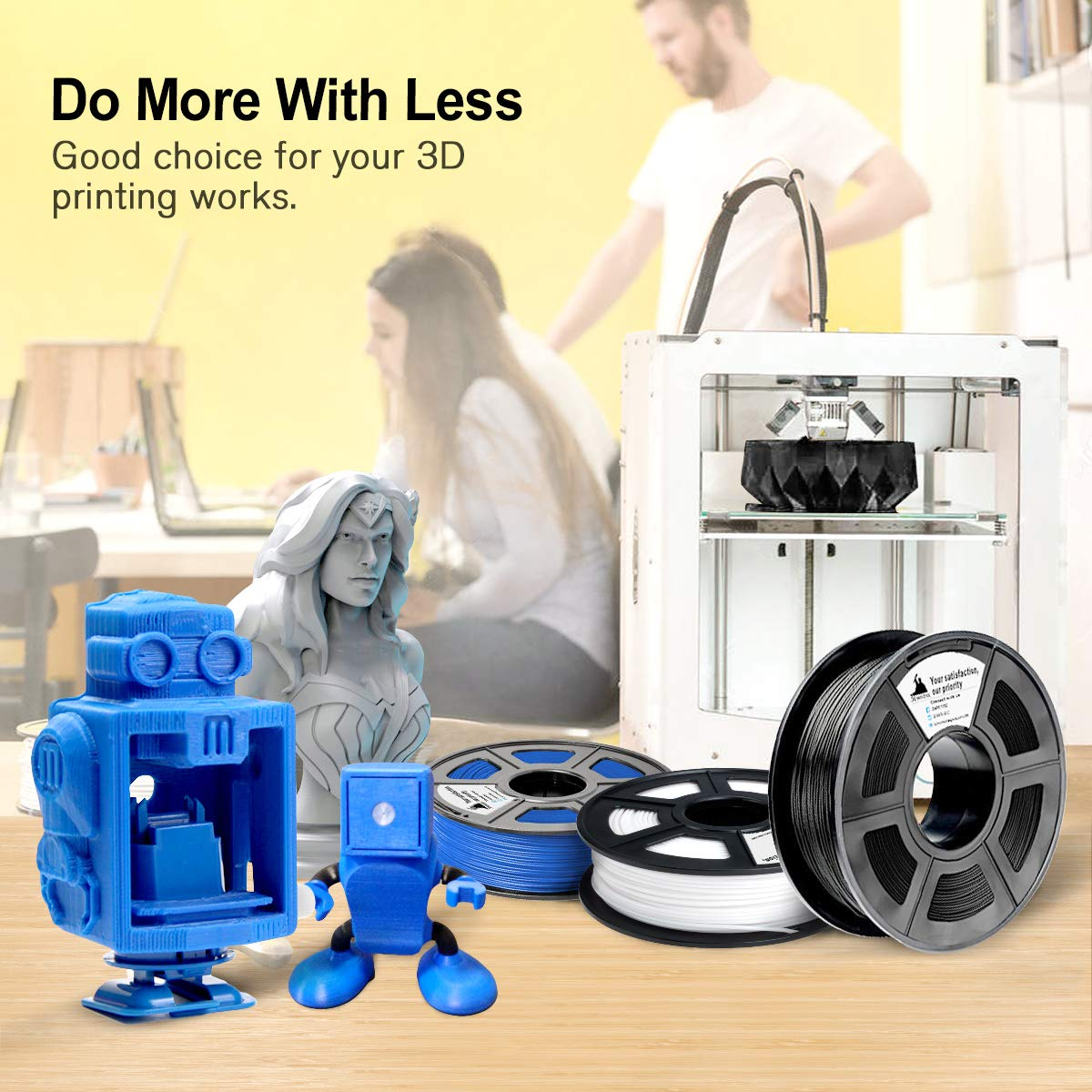 1KG ,1.75mm Filament Bonus with 5M PCL Nozzle Cleaning Filament 2.2 LBS Dimensional Accuracy +//- 0.02 mm 3D Warhorse PLA Filament 1.75mm,PLA 3D Printer Filament PLA Filament Black