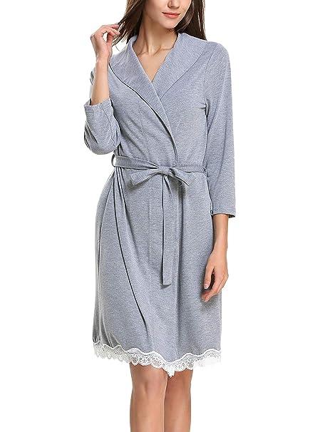 22c924fe6496 GUANYY Women Robe Soft Kimono Robes Cotton Bathrobe Sleepwear Loungewear  (Gray