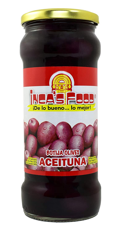 Inca's Food Black Olives in Brine - Aceitunas Negras de Botija - Product of Peru - 20 oz.