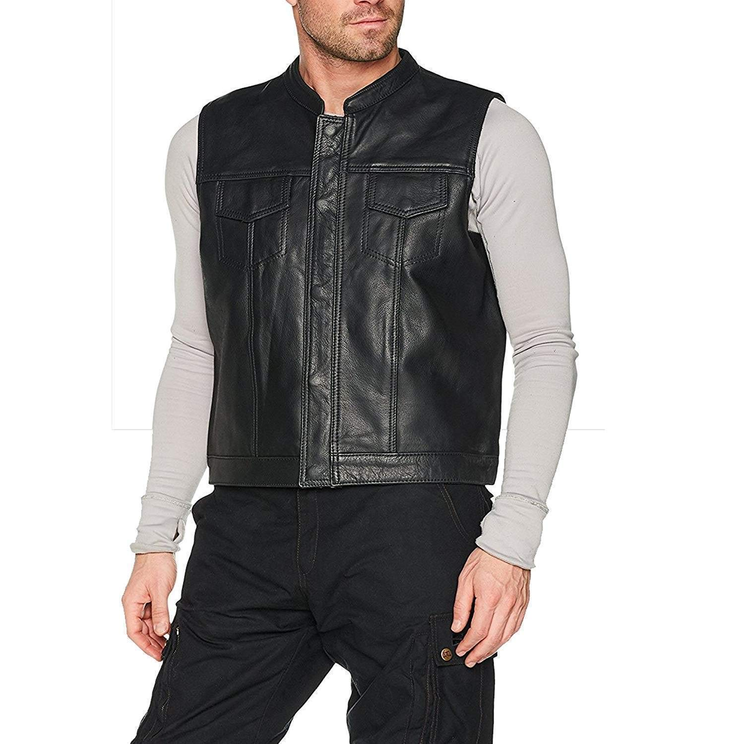 Bikers Gear Australia Black Revolver Motorcyle Leather Vest Sons of Anarchy Style Biker Sleeveless Waistcoat MED M Black