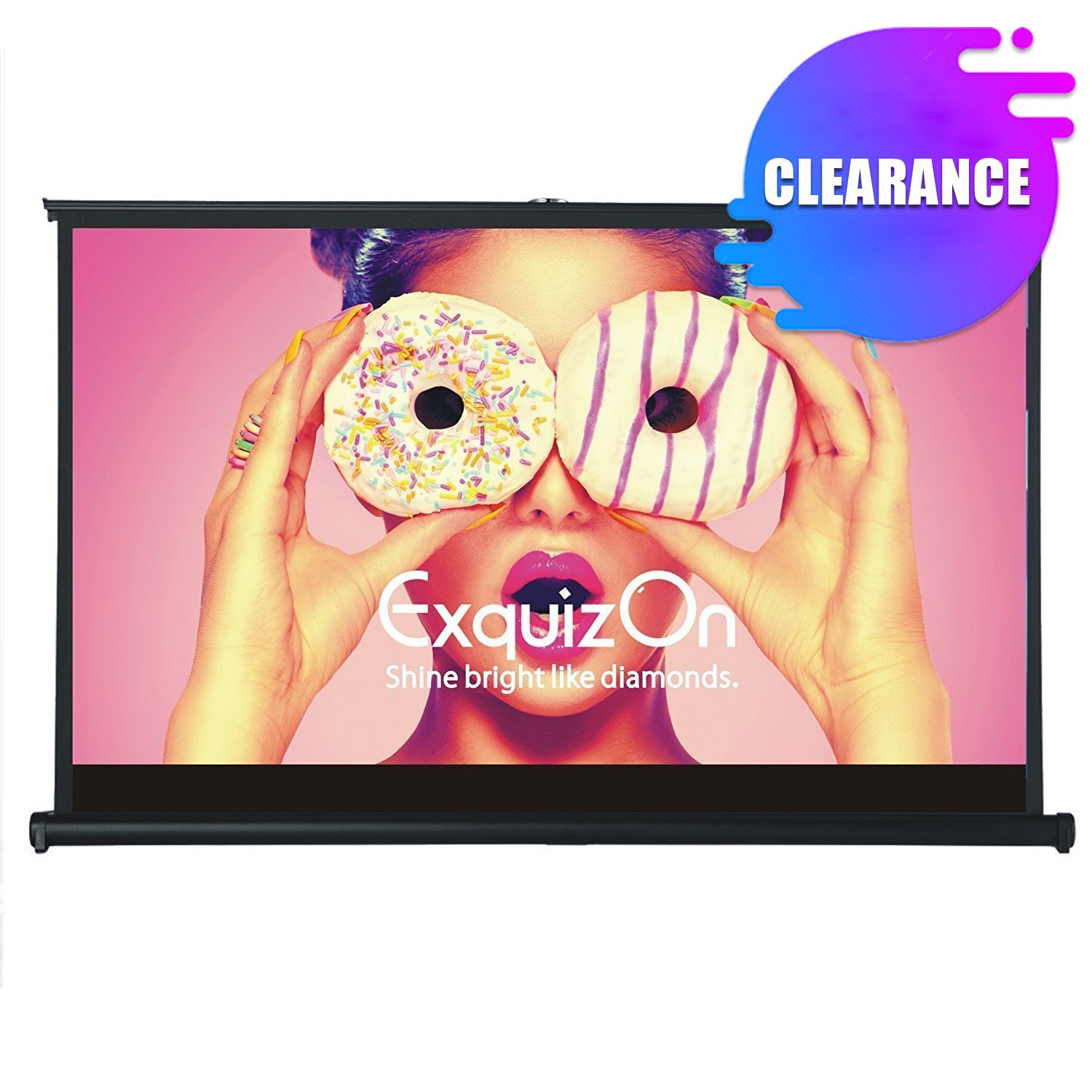 ExquizOn 50 Inch 16:9 Lightweight Tabletop Projection Screen Desktop Stand Pull-up Projector Screen Freestanding Fabric Matte White for School Theatre Cinema Home Business Presentation
