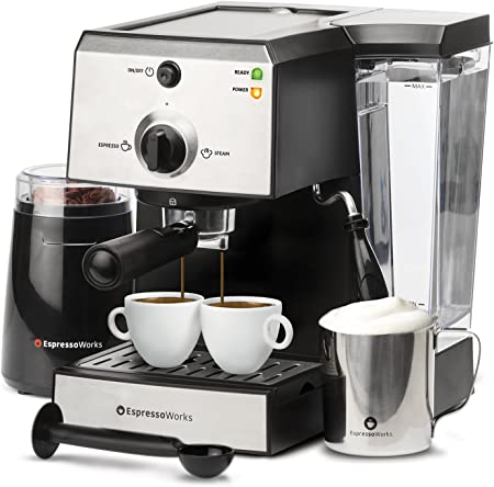 7 Pc All-In-One Espresso Machine Cappuccino Maker Barista Bundle Set w Built-In Steamer Frother Inc Coffee Bean Grinder, Portafilter, Milk Frothing Cup, Spoon Tamper 2 Cups , Stainless Steel