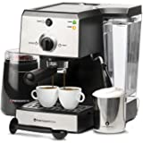 7 Pc All-In-One Espresso Machine & Cappuccino Maker Barista Bundle Set w/Built-In Steamer & Frother (Inc: Coffee Bean Grinder, Portafilter, Milk Frothing Cup, Spoon/Tamper & 2 Cups), Stainless Steel