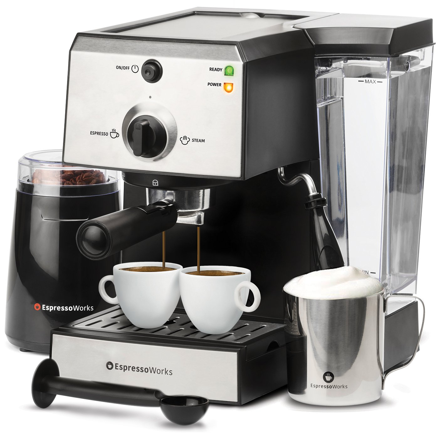 7 Pc All-In-One Espresso Machine & Cappuccino Maker Barista Bundle Set w/ Built-In Steamer & Frother (Inc: Coffee Bean Grinder, Portafilter, Milk Frothing Cup, Spoon/Tamper & 2 Cups), Stainless Steel by EspressoWorks