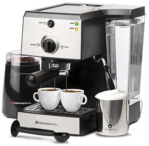 EspressoWorks-7-Pc-All-In-One-Espresso-Machine-&-Cappuccino-Maker-Barista-Bundle-Set-w/Built-In-Steamer-&-Frother