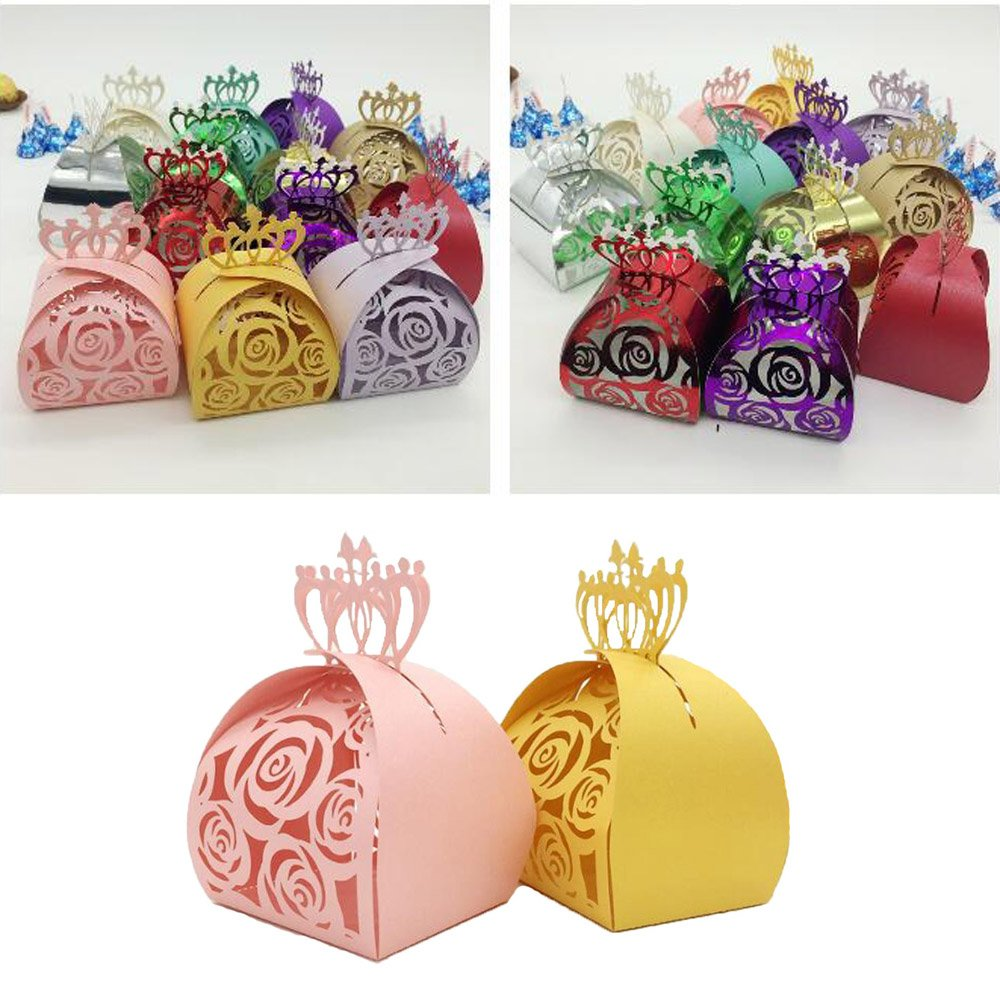 Crown Lock Rose Candy Box Hollow Laser Cut Roses Flowers Candy Box Chocolate Candy Wrappers Party Favors for Bridal Shower,Wedding,Party,Birthday Gift WOMHOPE/® 50 Pcs Gold