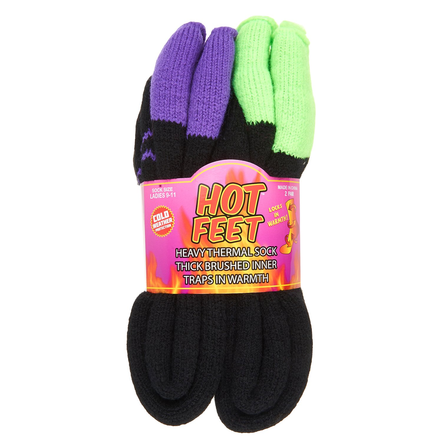 Hot Feet Women's 2 Pairs Heavy Thermal Socks - Thick Insulated Crew for Cold Weather; Sock Size 9-11, Shoe Size 4-10.5 (Apple Cuff and Grape Cuff)