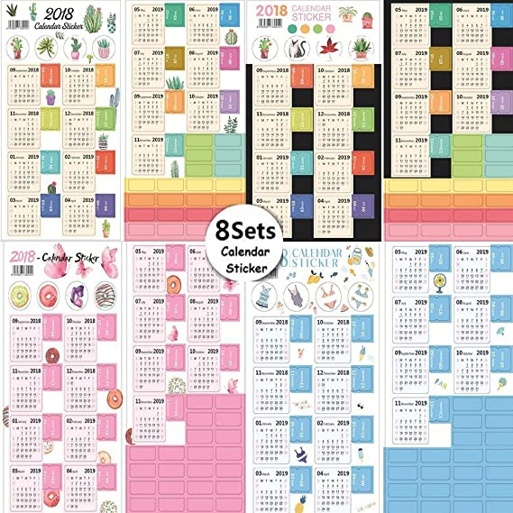 JM-capricorns 2018 Calendars Stickers for Bullet Journal/Planners/Agenda, Easy to Peel and Stick Monthly Index Dividers, Self Adhesive Tabs, from ...