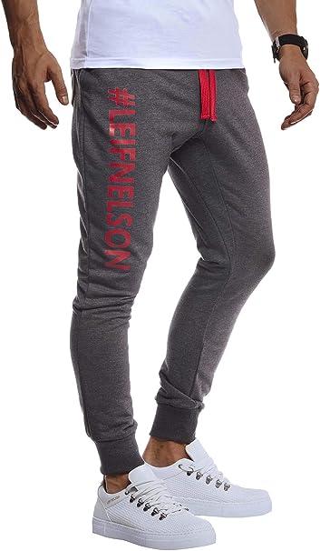 Pantaloni Sportivi da Uomo per Fitness Bodybuilding e Jogging LEIF NELSON LN8295 Allenamento Jogging Aderenti