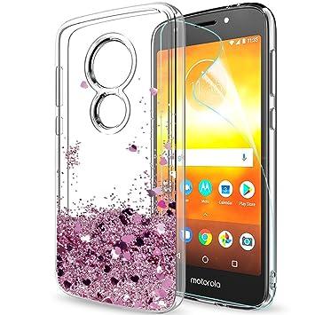 961bc915163 LeYi Funda Motorola Moto E5 Play Silicona Purpurina Carcasa con HD  Protectores de Pantalla,Transparente