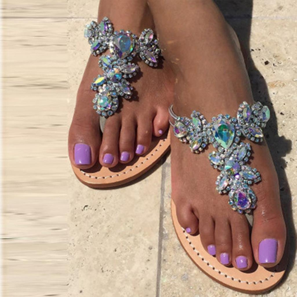 Women Bohemia Shining Rhinestone Slipper Flip Flop Sandals Flat T-strap Thongs Clearance Bridesmaid Party High Heel Strappy Slide Chain Girl Indoor Outdoor Beach Shoes (US:11, Silver)