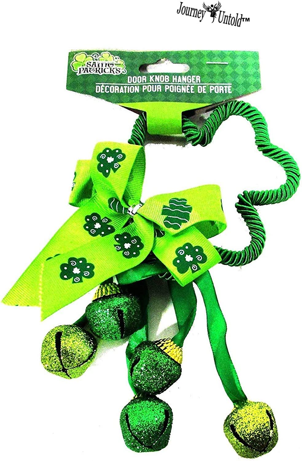St Patrick BCL Glitter SHIMMERS Super Fun Cute Kelly Green Door Knob Hanger with Bells