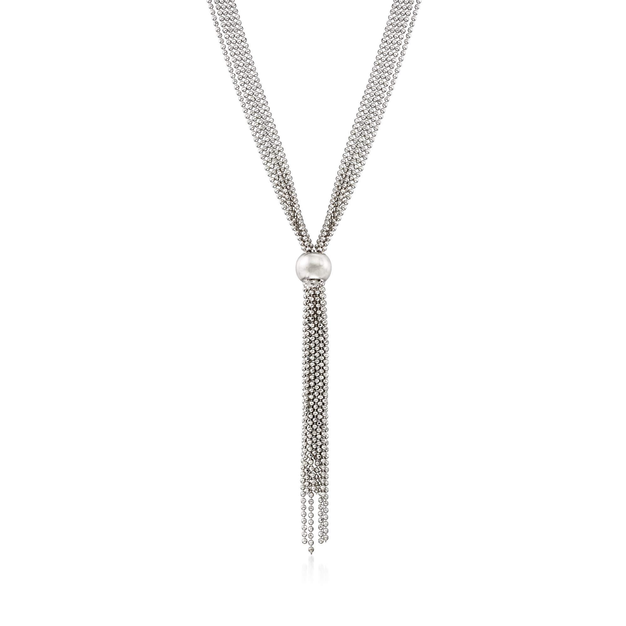Ross-Simons Italian Sterling Silver Bead Chain Tassel Necklace