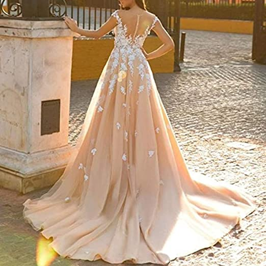 Rudina Sweetheart Mermaid Detachable Train Wedding Dresses Champagne Sleeveless Lace V-Neck Bridal Gown at Amazon Womens Clothing store: