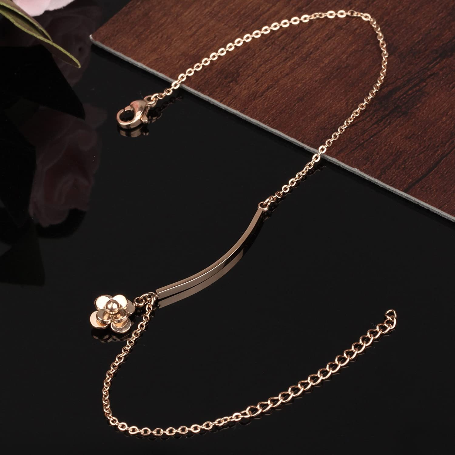 CHARMFAME Rose Gold Plated Stainless Steel Anklet Lovely Flower Ankle Bracelet Fashion Foot Jewelry for Women /& Girls