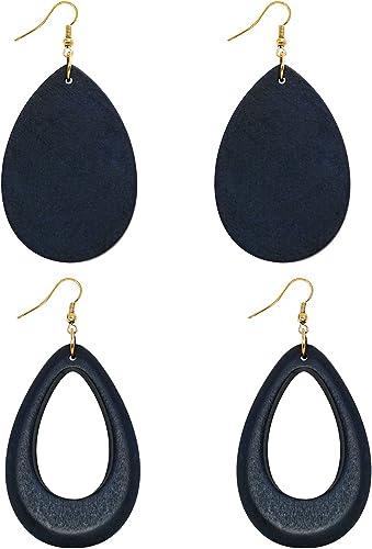 Natural Wood earrings Wood Teardrop Earrings Lightweight Earrings Wooden Earrings Wood Earrings Hollow Flare Walnut Earrings
