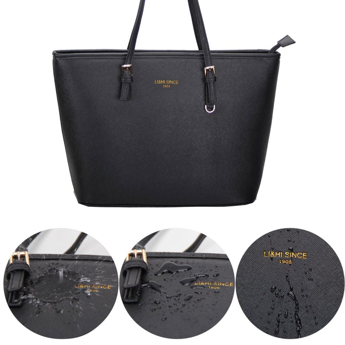 ed97d2141c465 LI&HI Élégant Sac à Main Noir Femme Sac Bandouliere Vintage Gros Sac Cabas  Noir - 33x28x15cm: Amazon.fr: Bagages