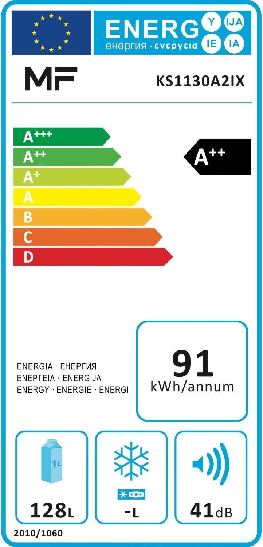 LED Licht MF KS1130A2WH K/ühlschrank A++ Freistehend sehr niedriger Energieverbrauch B550 x T580 x H850 mm Tischk/ühlschrank einen Nutzinhalt von 132 Litern Wei/ß 85 cm H/öhe Vollraumk/ühlschrank