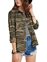 HaoDuoYi Women Casual Military Camouflage Lightweight Button Tops Shirt