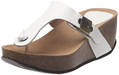 f917a9ef2a7e Scholl Women s Edna 1.2 Leather Wedge Thong Sandals Off White UK 9 ...