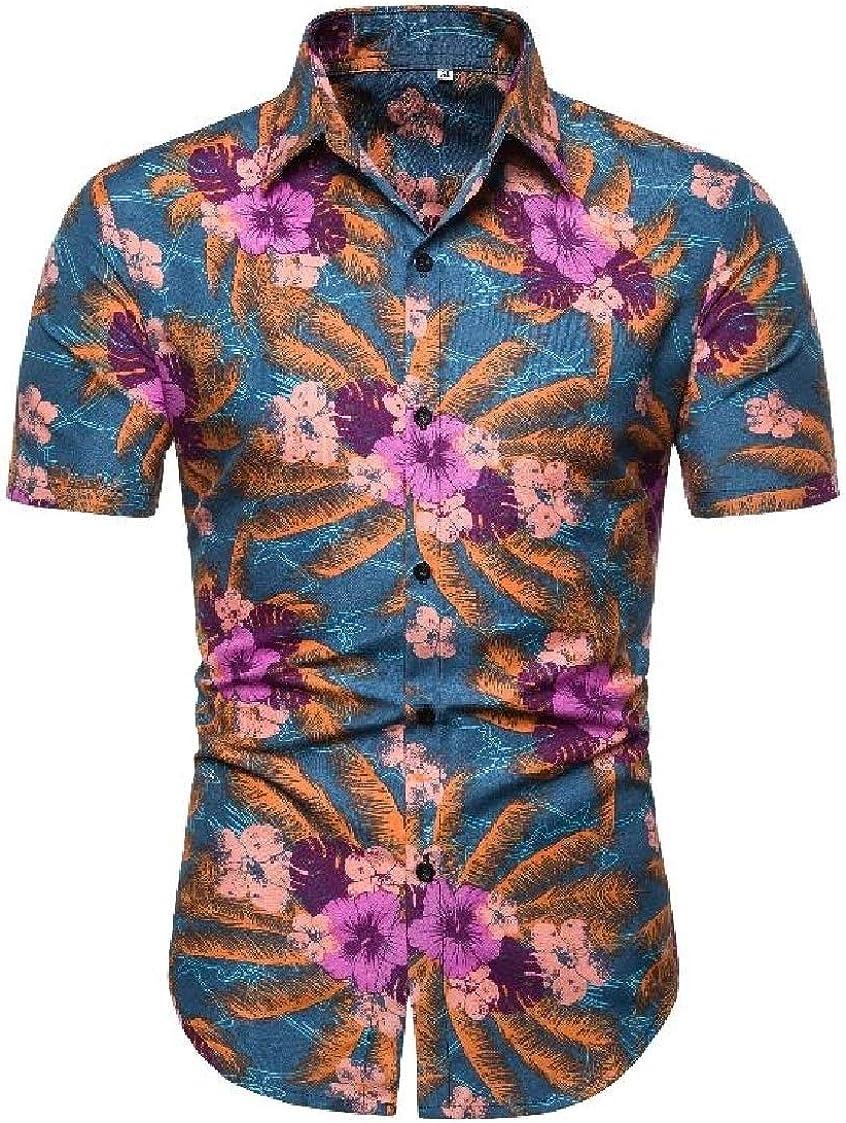 Nanquan Men Stylish Short Sleeve Flower Print Button Up Regular-Fit Shirts