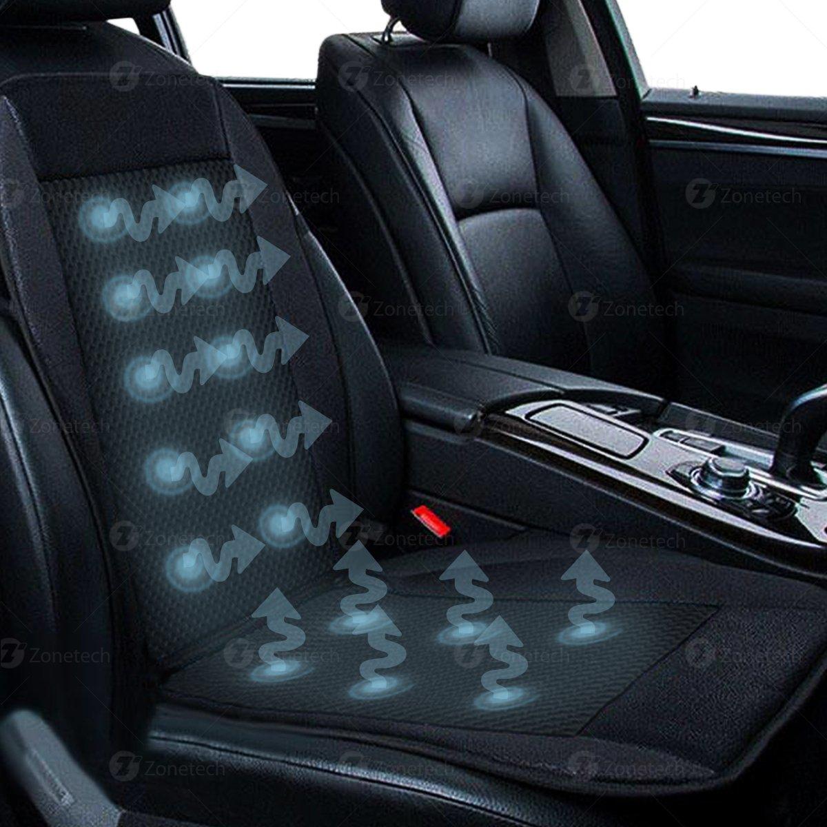 Zone Tech 2x Black Cooling Car Seat Cushion Cooler 12V Adjustable
