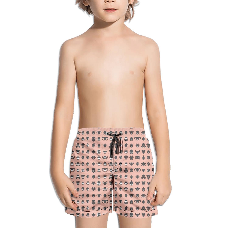 Websi Wihey Boy's Quick Dry Swim Trunks Pirate Black Skull Art Pink Fashione Shorts