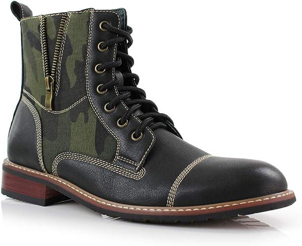 Ferro Aldo Ryder MFA808561A Mens Army Dress Ankle Boots Cap Toe Side Zipper