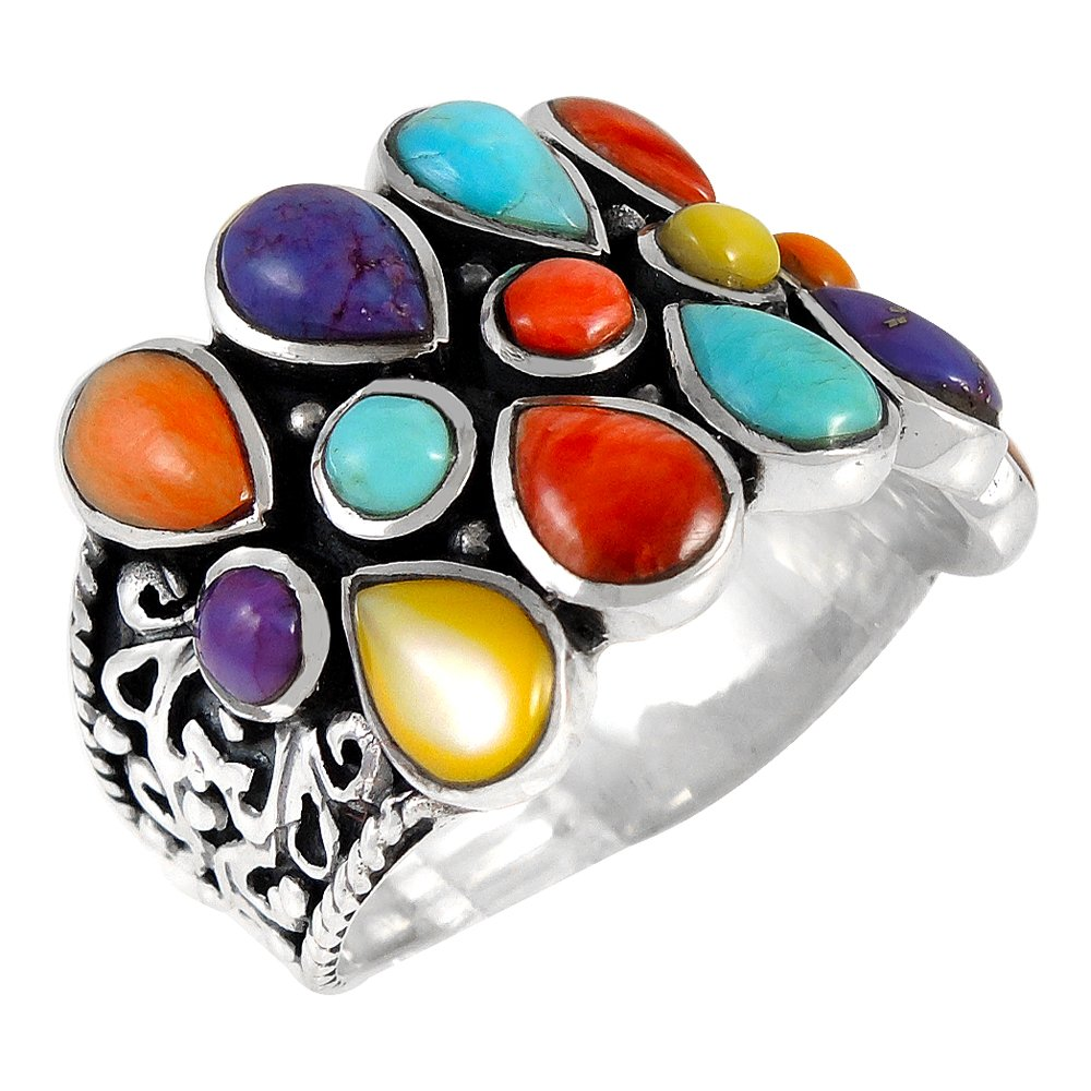Turquoise & Gemstones Ring Sterling Silver 925 Genuine Gemstones Size 6 to 10 (10)
