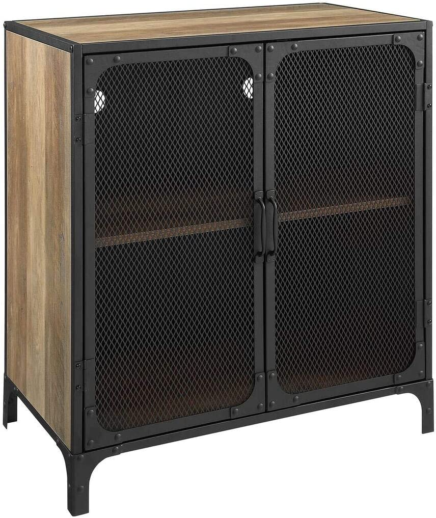 Offex 30 Rustic Oak Industrial Accent Cabinet Mesh with Adjustable Shelves