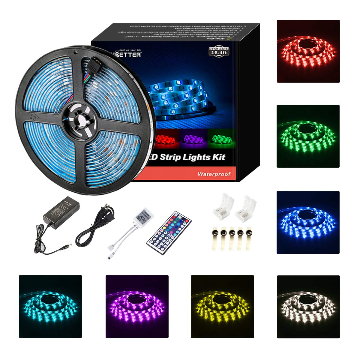 Led Strip Lights Waterproof 16.4ft 5m Waterproof Flexible Color Changing RGB SMD 5050 150leds LED Strip Lighting Kit with 44 Keys IR Remote Controller and 12V Power Supply DAYBETTER