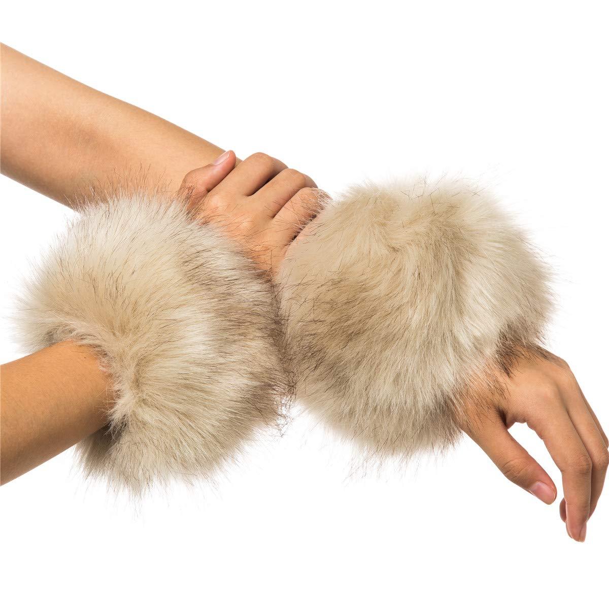 Lucky Leaf Women Winter Wrist Warmers Faux Fur Soft Cuffs Band Ring (C1-Beige)