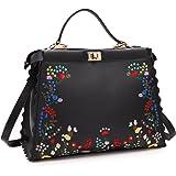 DASEIN Fashion Flower Embroidery Handbag Designer Floral Print Shoulder Bag Tote Satchel Purse