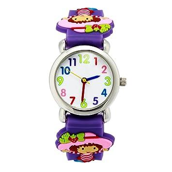 Reloj de cuarzo lindo 3D de dibujos animados Relojes de pulsera con banda de silicona Profesor de tiempo como regalo Para niñas chico Niños: Amazon.es: ...