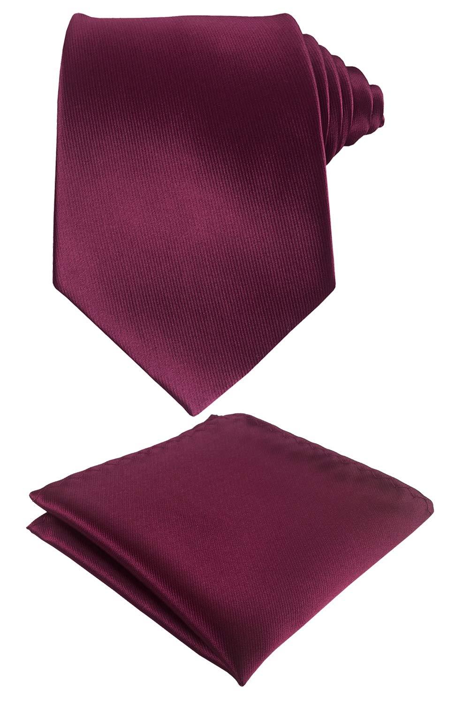 Men's Wedding Solid Color Necktie Matching Pocket Square Tie Set (Burgandy)