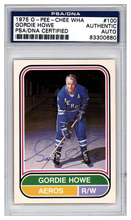 086add55d0d Image Unavailable. Image not available for. Color: Gordie Howe Autographed  Signed 1975 O-Pee-Chee WHA Card #100 Houston Aeros
