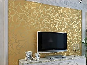 ufengke vliesstoff beflockung bronzing romantische rose blume 3d muster tapeten wandbild fr wohnzimmer schlafzimmer tv ehe - Muster Tapeten