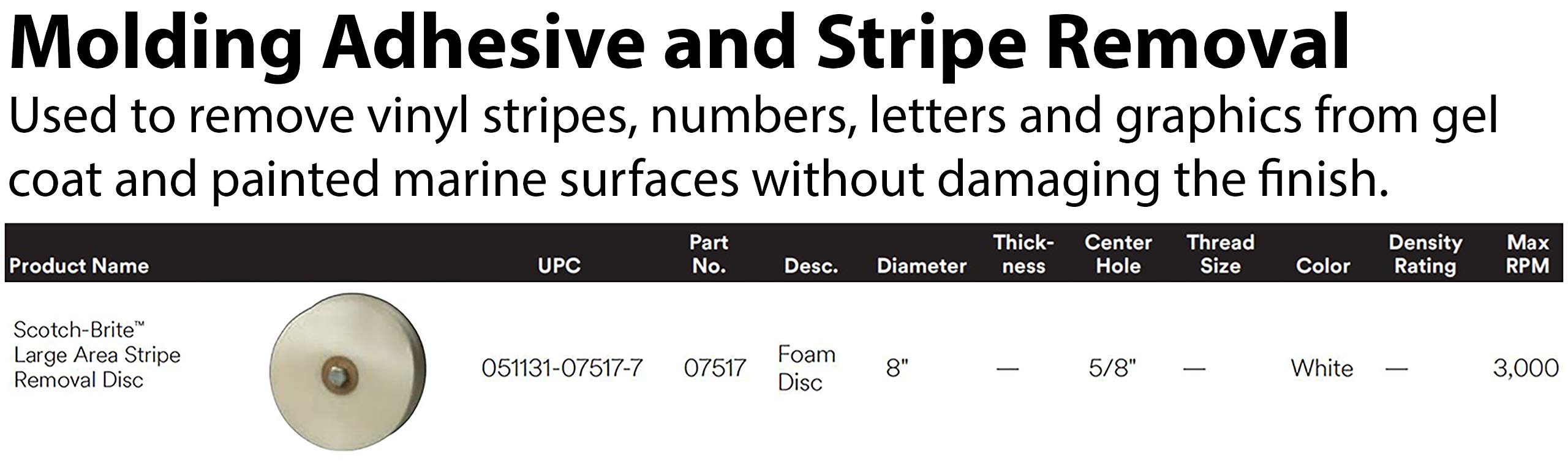 Scotch-Brite(TM) Large Area Stripe Removal Disc 07517, 8'' Diameter, 5/8'' Center Hole Diameter, White (Pack of 1) by Cubitron