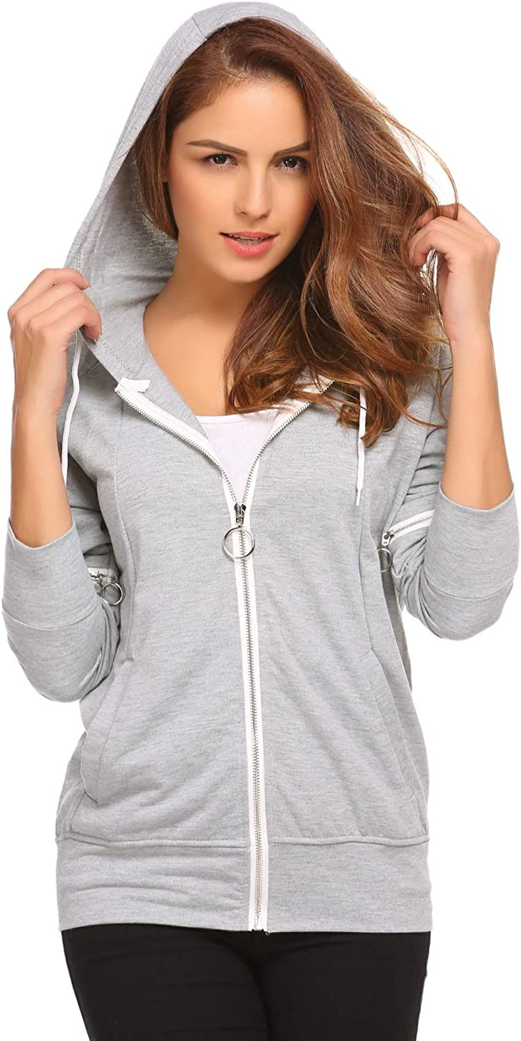 Misakia Women Active Hooded Zip Up Jacket Casual Loose Fit Hoodie with Pocket