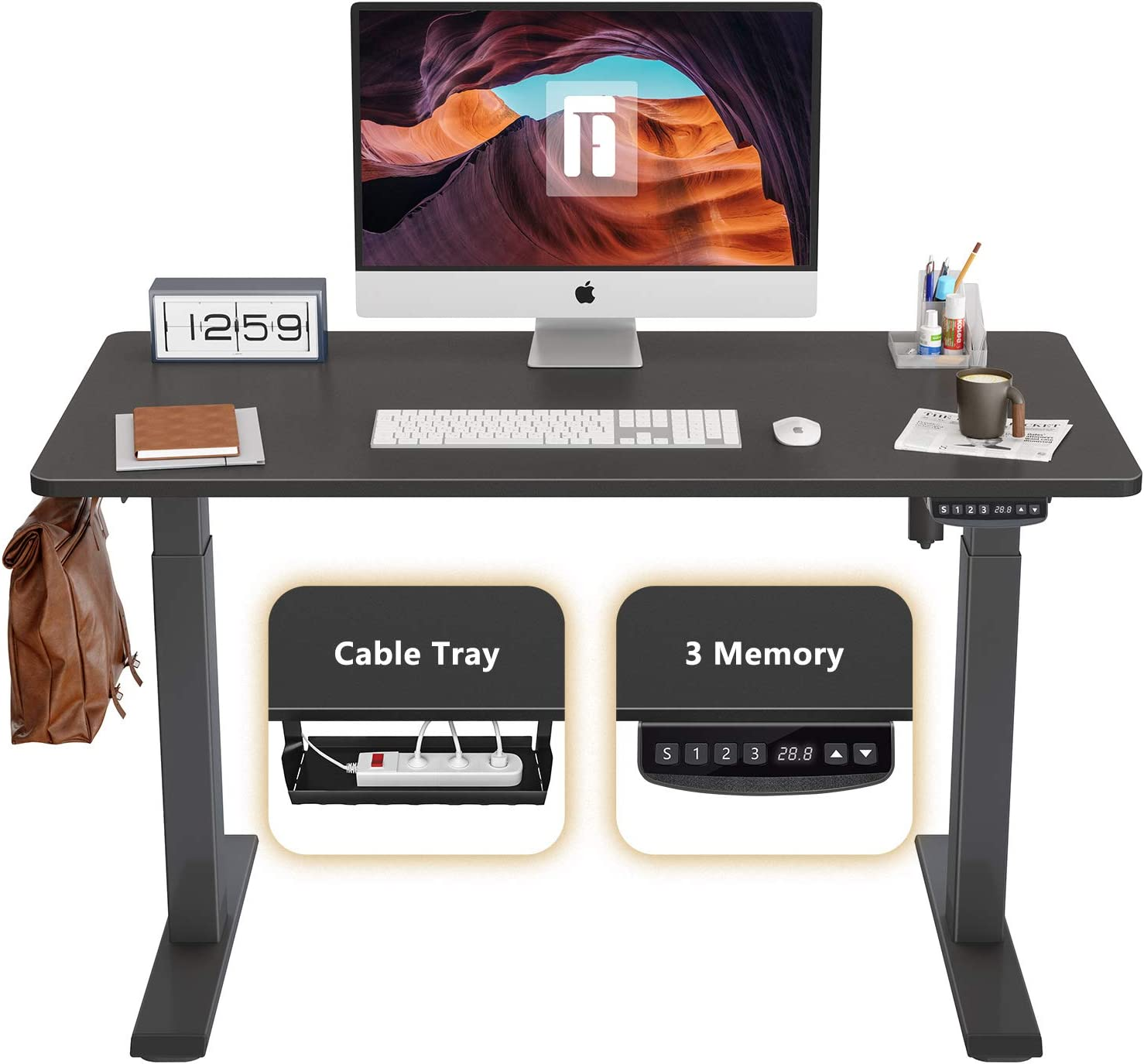 FEZIBO Height Adjustable Electric Standing Desk, 40 x 24 Inches Stand Up Table, Sit Stand Home Office Desk with Splice Board, Black Frame/Black Top