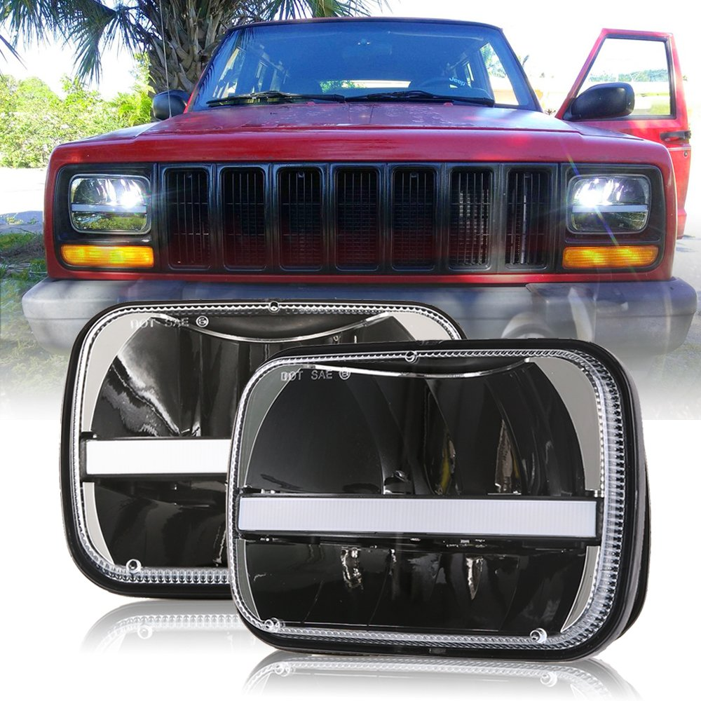 (2 Pcs) DOT approved 5 x 7inch Rectangular LED Headlights w/DRL Turn Signal for Jeep Wrangler YJ Cherokee XJ Trucks Offroad Headlamp Replacement H6054 H5054 H6054LL 69822 6052 6053 by Bicyaco
