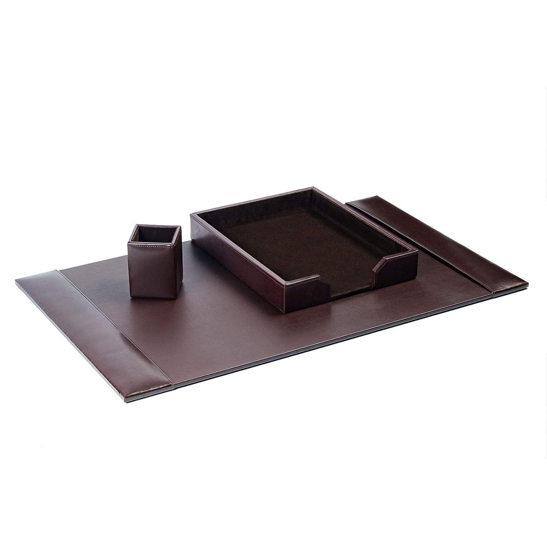 Desk Accessory Set, 3-piece Genuine Brown Leather