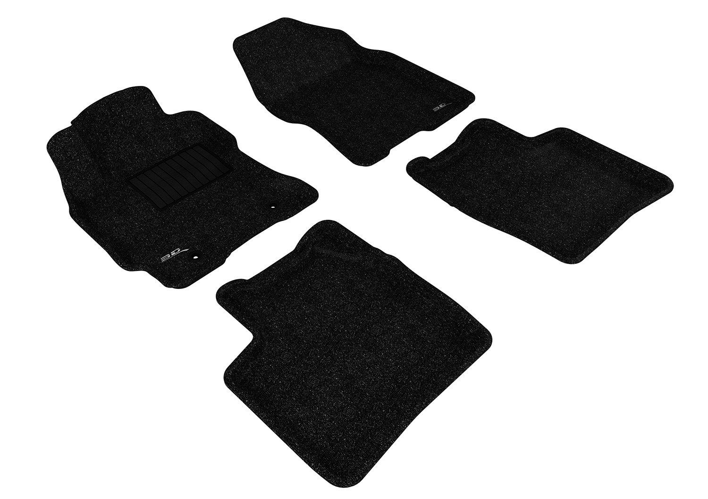 3D MAXpider Complete Set Custom Fit Floor Mat for Select Toyota Prius Models L1TY14502209 Black Classic Carpet