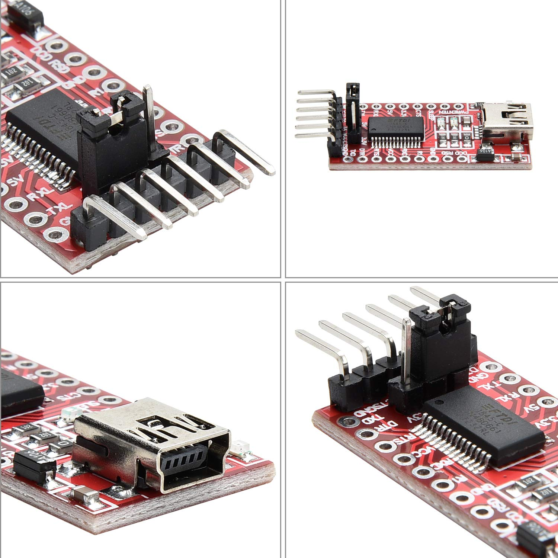 Yizhet 2 uds FTDI Adaptador FT232RL USB a TTL Serial Adaptador Convertidor 3.3V 5.5V Module para Arduino y Raspberry Pi