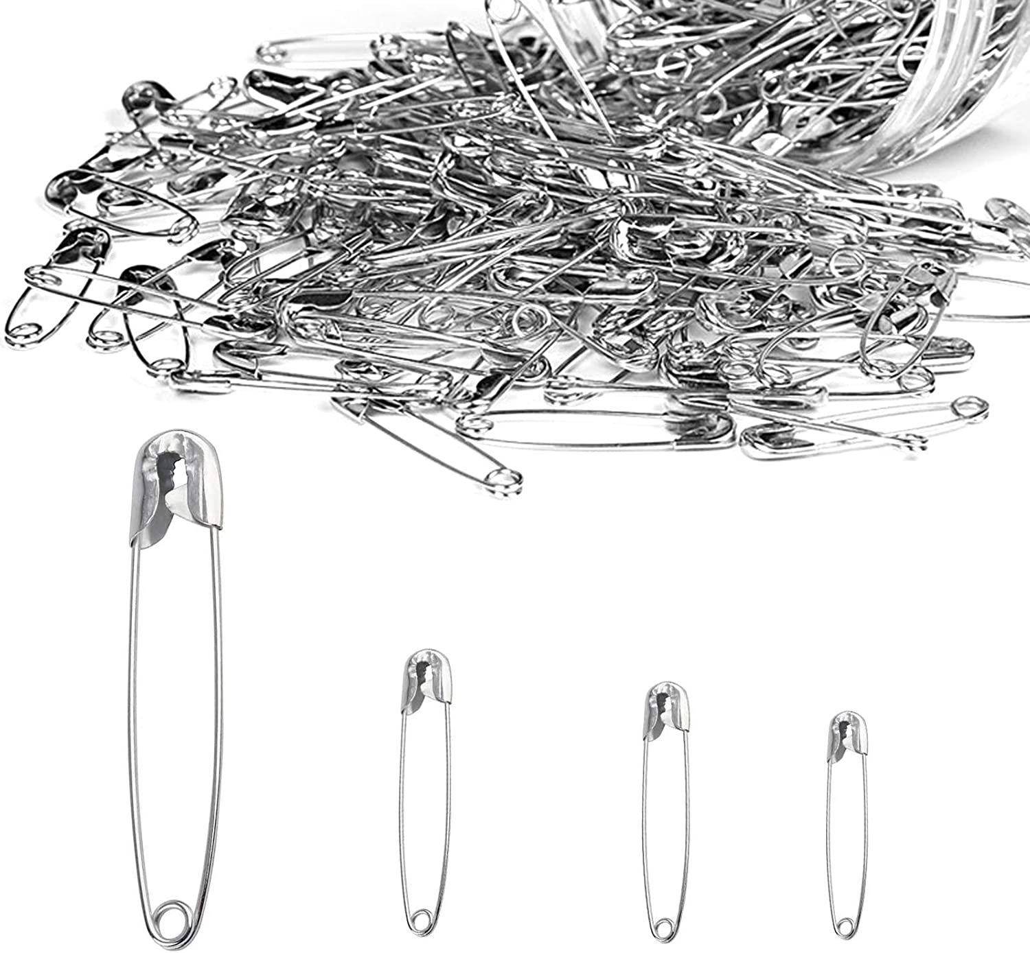 Safety Pins Assorted Sizes, Heavy Duty Large 2 Inch Safety Pins + Small 1 inch Safety Pins, for Quilting Sewing Fashion Home Office Use Cloths/Clothing Hijab Fabric Diaper Tags Crafts Jewelry Making