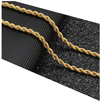 83fd3e9422ad1 Gold Chain Necklace 24K Real Gold Plated 3mm Rope Chain USA Made ...