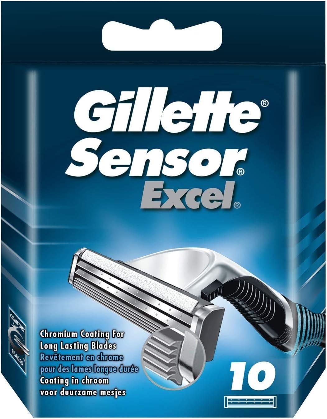 Gillette Sensor Excel Recambio De Maquinilla De Afeitar Para Hombre - 10Recambios
