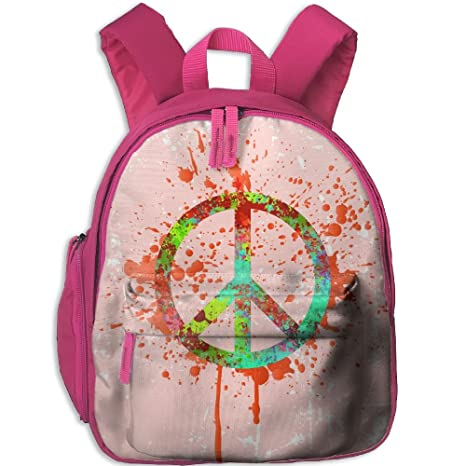 2d9bc268e3d3 Image Unavailable. Image not available for. Color  Peace Sign Color Kids  School Backpack Cute Cool Print ...