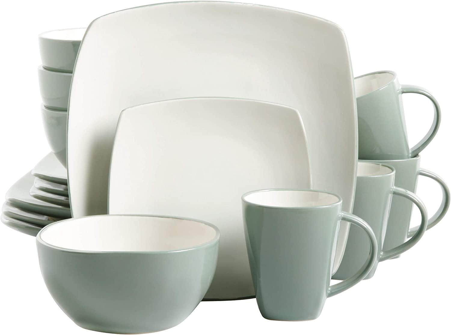 Gibson Soho Lounge Dinnerware set, Square, Celadon