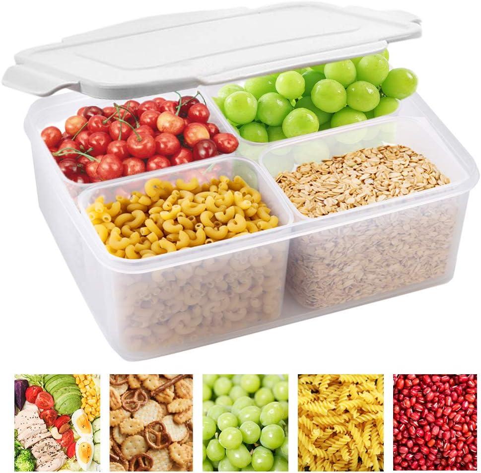 Fridge Food Storage Container- Reusable Fresh Produce Fruit Storage Organizer Plastic Produce Organizer Storage Bin with 4 Mini Containers to Keep Fresh for Storing Fish, Meat, Vegetables